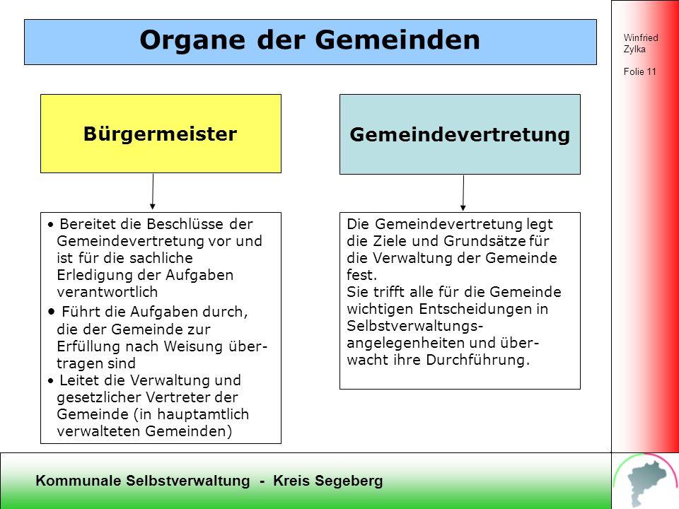 Kommunale Selbstverwaltung - Kreis Segeberg Winfried Zylka Folie 10 Organe des Kreises Segeberg Kreistag (51 Abgeordnete) Fraktionen (4 Fraktionen) Di