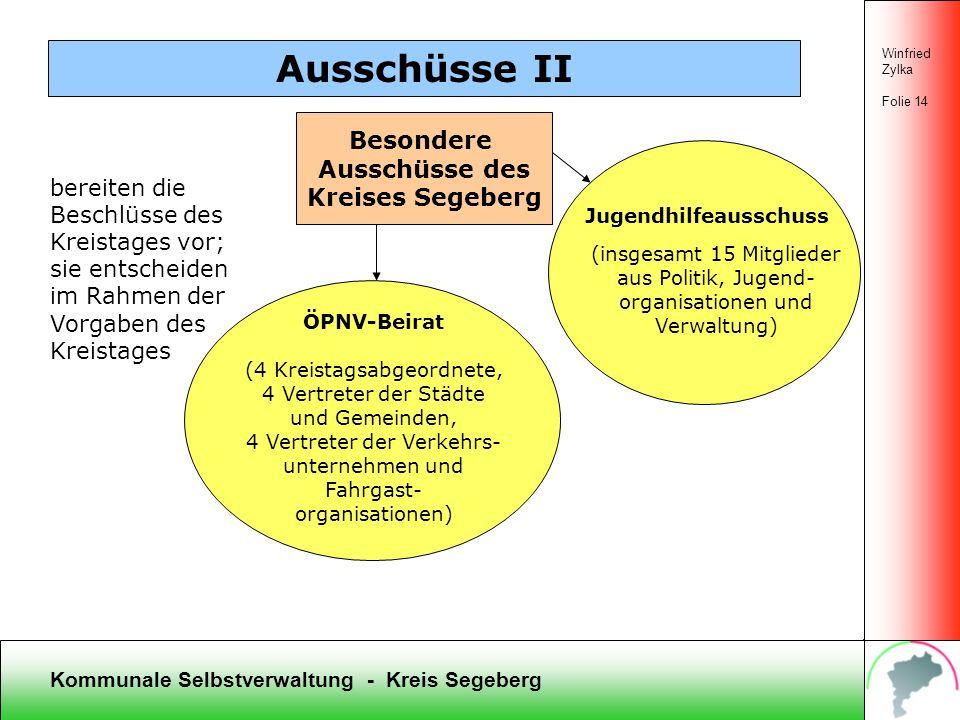 Kommunale Selbstverwaltung - Kreis Segeberg Ausschüsse I Winfried Zylka Folie 13 Koordinierung der Ausschüsse und Kontrolle der Kreis-/Gemeinde- verwa