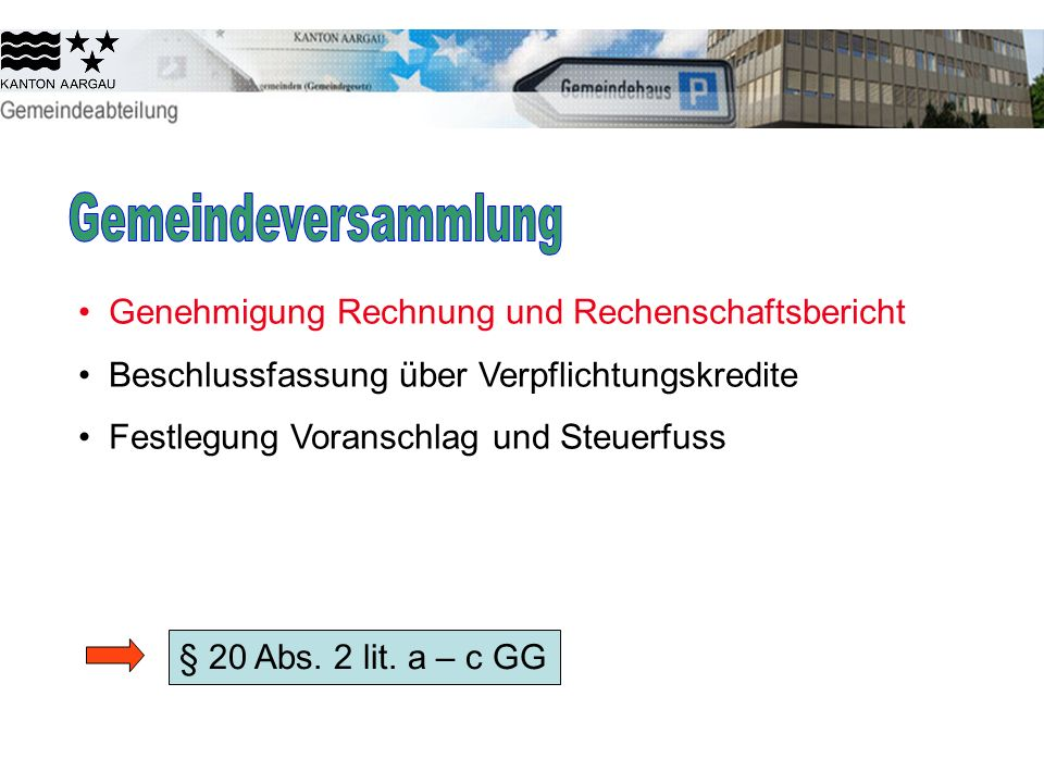 Genehmigung Rechnung und Rechenschaftsbericht Beschlussfassung über Verpflichtungskredite Festlegung Voranschlag und Steuerfuss § 20 Abs. 2 lit. a – c