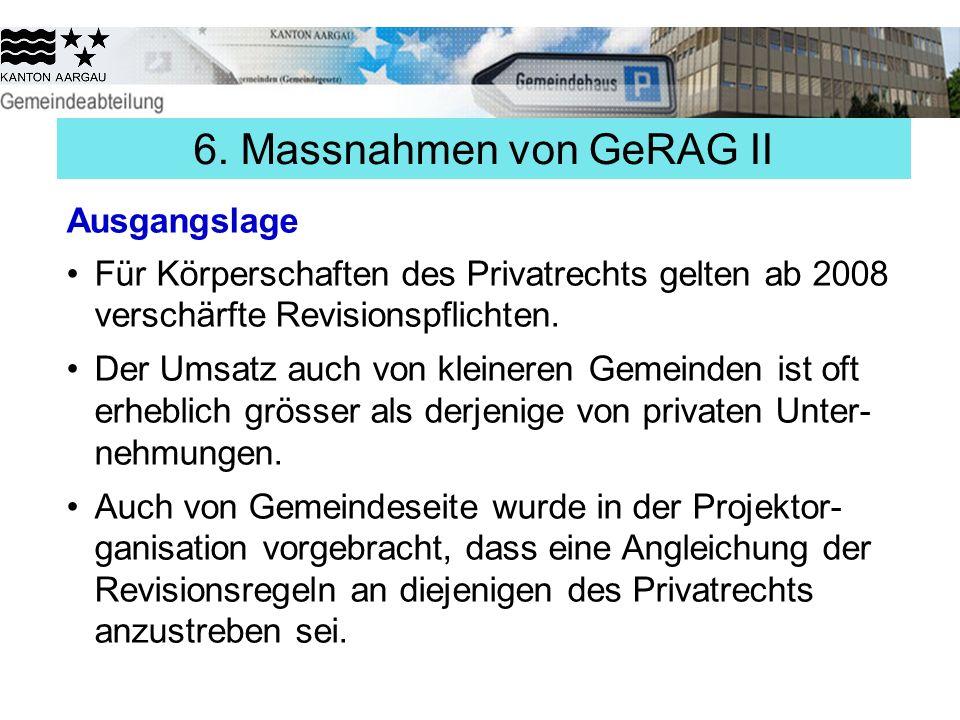 6. Massnahmen von GeRAG II Ausgangslage Für Körperschaften des Privatrechts gelten ab 2008 verschärfte Revisionspflichten. Der Umsatz auch von kleiner