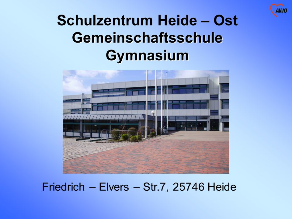 Besonderheiten des Standortes Schulzentrum Heide – Ost Gemeinschaftsschule/ Gymnasium 1400 SchülerInnen (600 GMS/ 800 GHO) 100 LehrerInnen