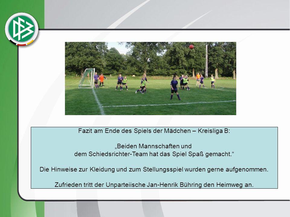 Fazit am Ende des Spiels der Mädchen – Kreisliga B: Beiden Mannschaften und dem Schiedsrichter-Team hat das Spiel Spaß gemacht.