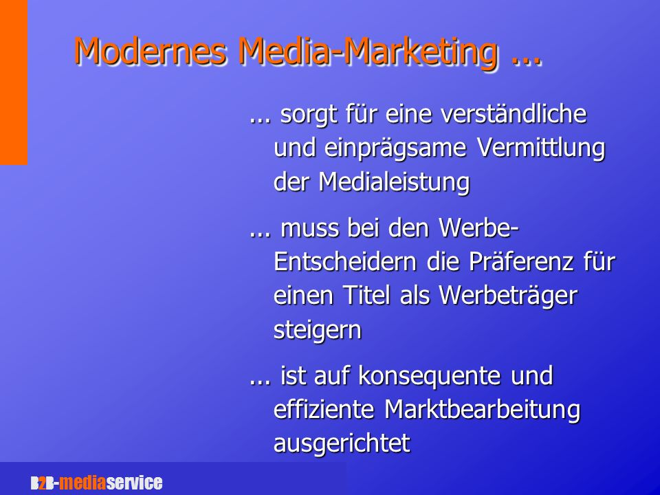 B2B -mediaservice Modernes Media-Marketing......