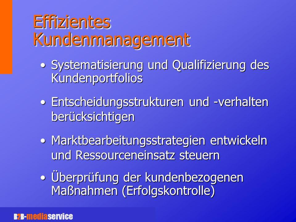 B2B -mediaservice Effizientes Kundenmanagement Systematisierung und Qualifizierung des KundenportfoliosSystematisierung und Qualifizierung des Kundenportfolios Entscheidungsstrukturen und -verhalten berücksichtigenEntscheidungsstrukturen und -verhalten berücksichtigen Marktbearbeitungsstrategien entwickeln und Ressourceneinsatz steuernMarktbearbeitungsstrategien entwickeln und Ressourceneinsatz steuern Überprüfung der kundenbezogenen Maßnahmen (Erfolgskontrolle)Überprüfung der kundenbezogenen Maßnahmen (Erfolgskontrolle)