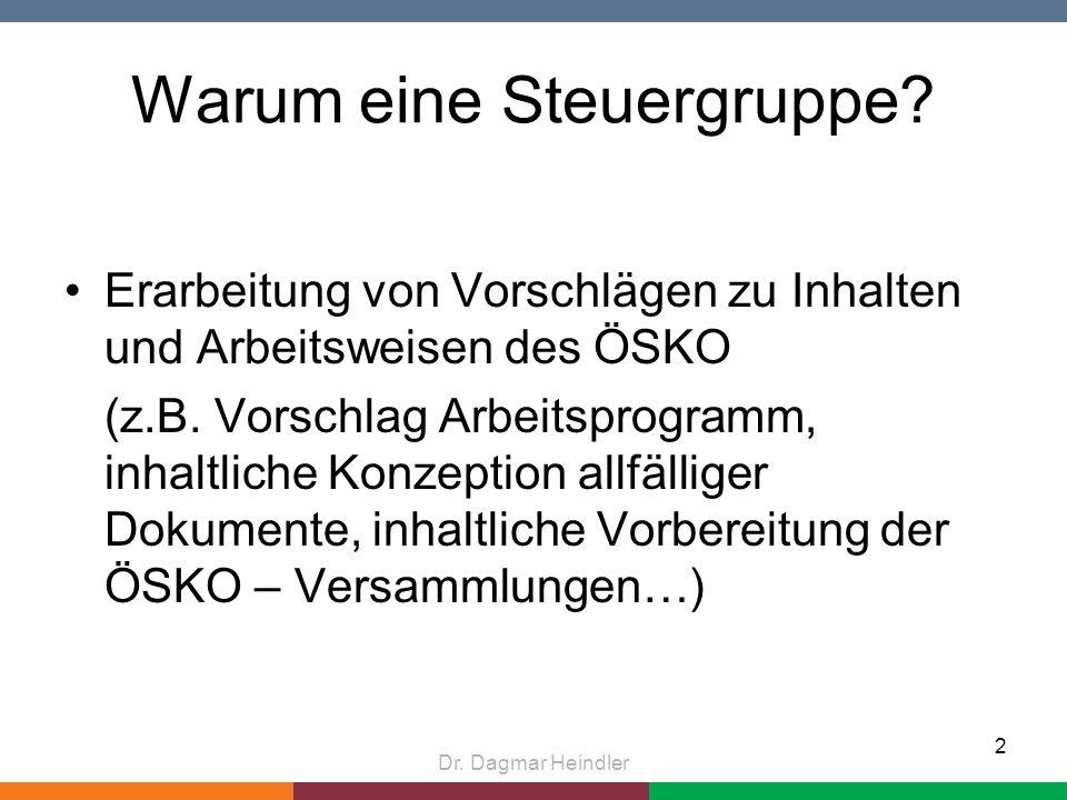 Warum eine Steuergruppe.Erarbeitung von Vorschlägen zu Inhalten und Arbeitsweisen des ÖSKO (z.B.