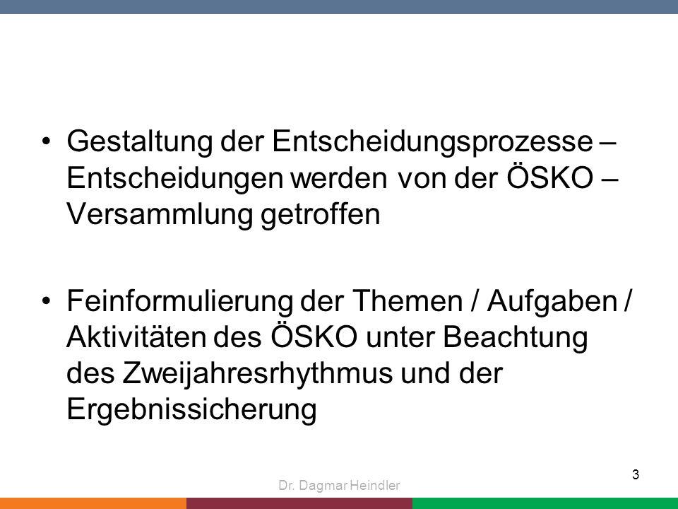 Gestaltung der Entscheidungsprozesse – Entscheidungen werden von der ÖSKO – Versammlung getroffen Feinformulierung der Themen / Aufgaben / Aktivitäten des ÖSKO unter Beachtung des Zweijahresrhythmus und der Ergebnissicherung Dr.