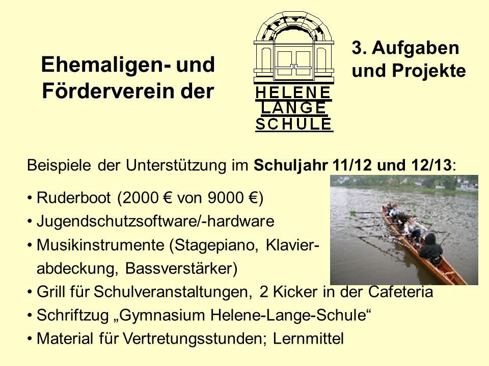 Ehemaligen- und Förderverein der 3. Aufgaben und Projekte Beispiele der Unterstützung im Schuljahr 11/12 und 12/13: Ruderboot (2000 von 9000 ) Jugends