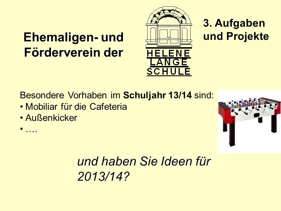 Ehemaligen- und Förderverein der 3. Aufgaben und Projekte Besondere Vorhaben im Schuljahr 13/14 sind: Mobiliar für die Cafeteria Außenkicker …. und ha