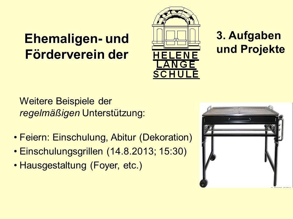 Ehemaligen- und Förderverein der 3. Aufgaben und Projekte Weitere Beispiele der regelmäßigen Unterstützung: Feiern: Einschulung, Abitur (Dekoration) E