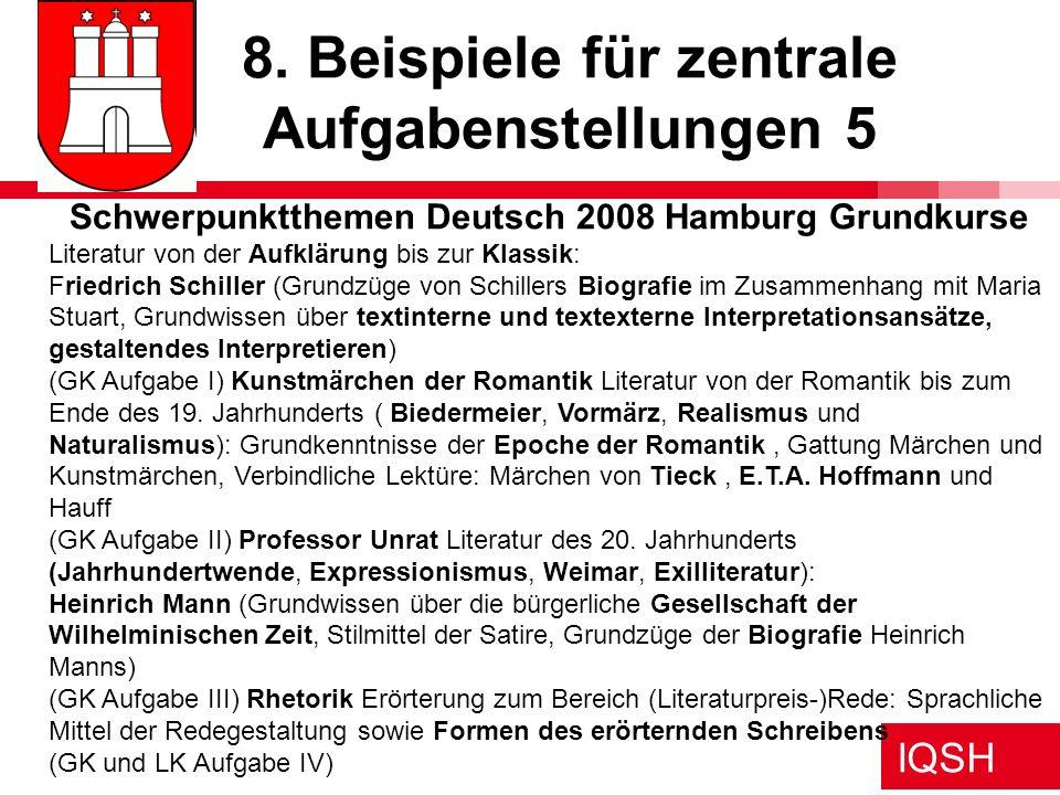 IQSH 8. Beispiele für zentrale Aufgabenstellungen 5 Schwerpunktthemen Deutsch 2008 Hamburg Grundkurse Literatur von der Aufklärung bis zur Klassik: Fr
