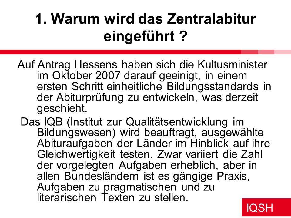 IQSH Themenspeicher für das Zentralabitur Anregung Kiel 27.11.08 Themenkorridore Übergreifender Korridor: 12.1.