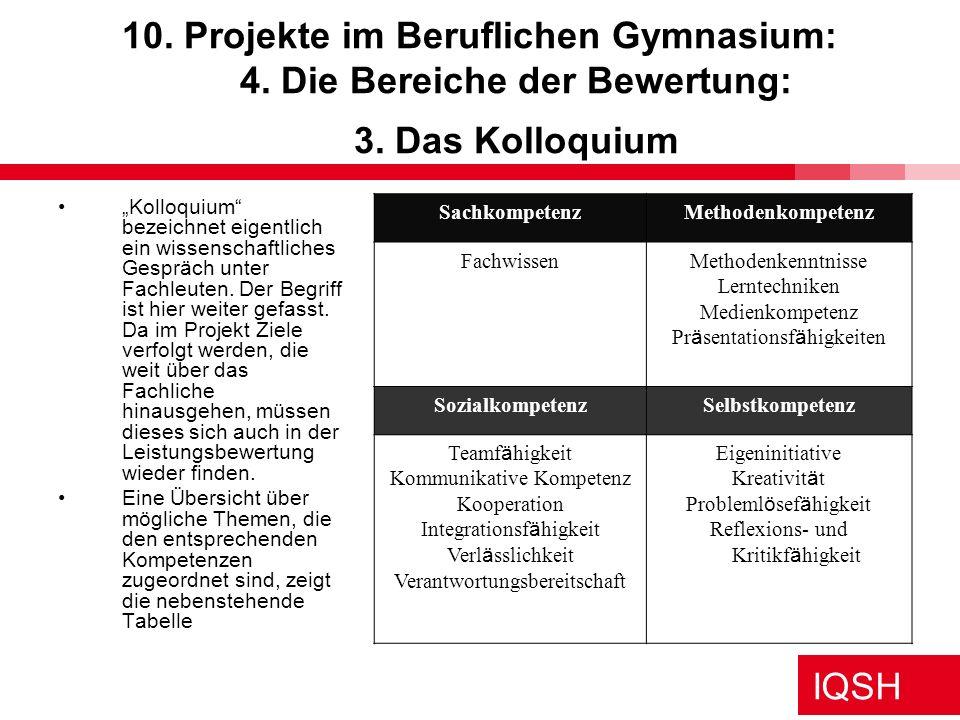 IQSH 10. Projekte im Beruflichen Gymnasium: 4. Die Bereiche der Bewertung: 3. Das Kolloquium Kolloquium bezeichnet eigentlich ein wissenschaftliches G
