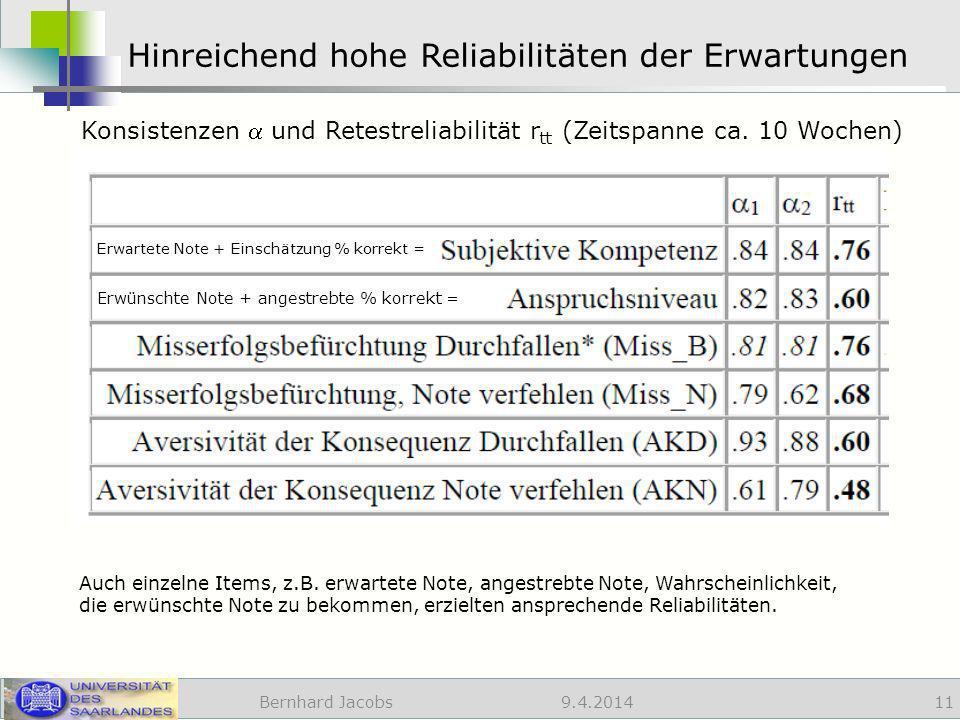9.4.2014 Hinreichend hohe Reliabilitäten der Erwartungen Bernhard Jacobs 11 Konsistenzen und Retestreliabilität r tt (Zeitspanne ca.