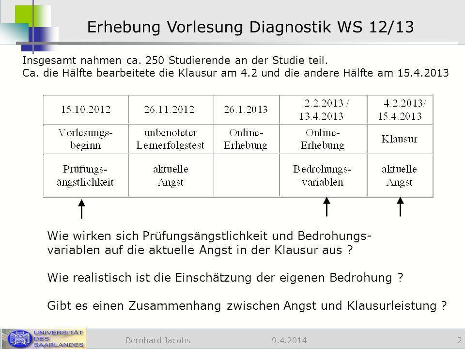 9.4.2014 Erhebung Vorlesung Diagnostik WS 12/13 Bernhard Jacobs 2 Wie wirken sich Prüfungsängstlichkeit und Bedrohungs- variablen auf die aktuelle Angst in der Klausur aus .