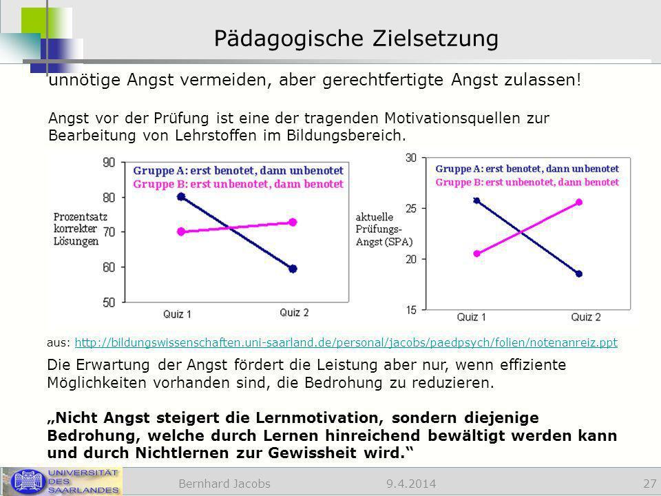 9.4.2014 Pädagogische Zielsetzung Bernhard Jacobs 27 unnötige Angst vermeiden, aber gerechtfertigte Angst zulassen.