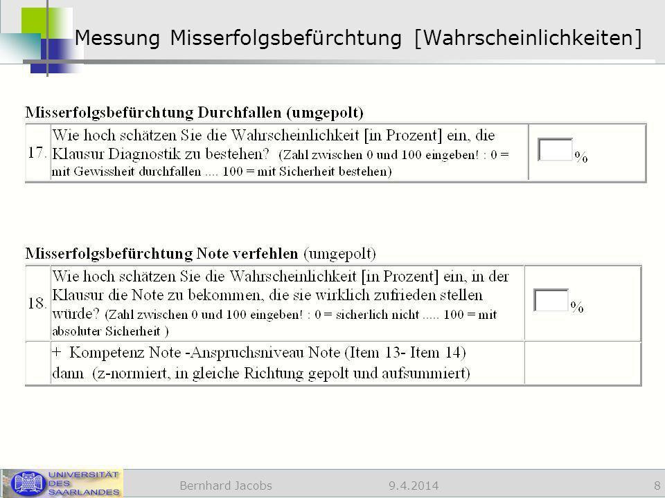 9.4.2014 Messung Misserfolgsbefürchtung [Wahrscheinlichkeiten] Bernhard Jacobs 8