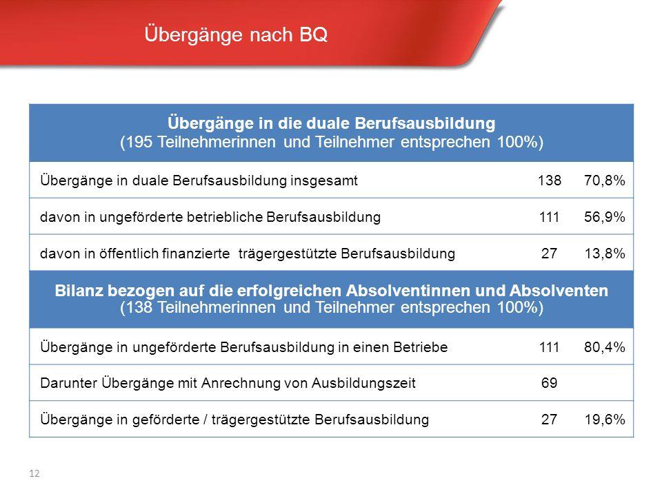 Übergänge nach BQ 12 Übergänge in die duale Berufsausbildung (195 Teilnehmerinnen und Teilnehmer entsprechen 100%) Übergänge in duale Berufsausbildung