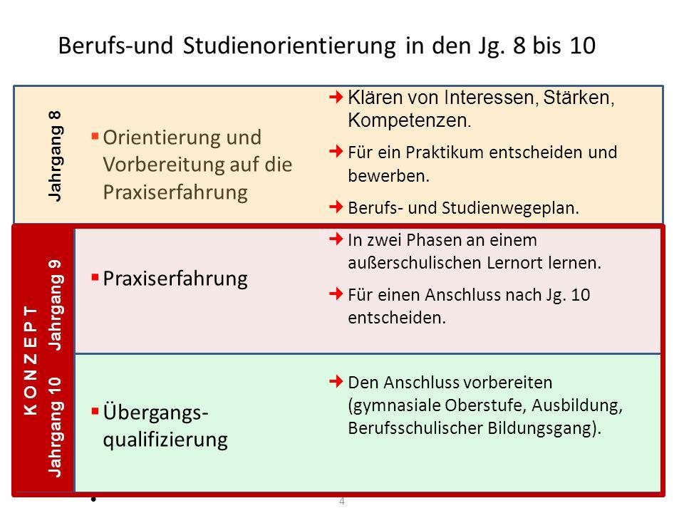 Berufs-und Studienorientierung in den Jg. 8 bis 10 Orientierung und Vorbereitung auf die Praxiserfahrung Praxiserfahrung Übergangs- qualifizierung Jah