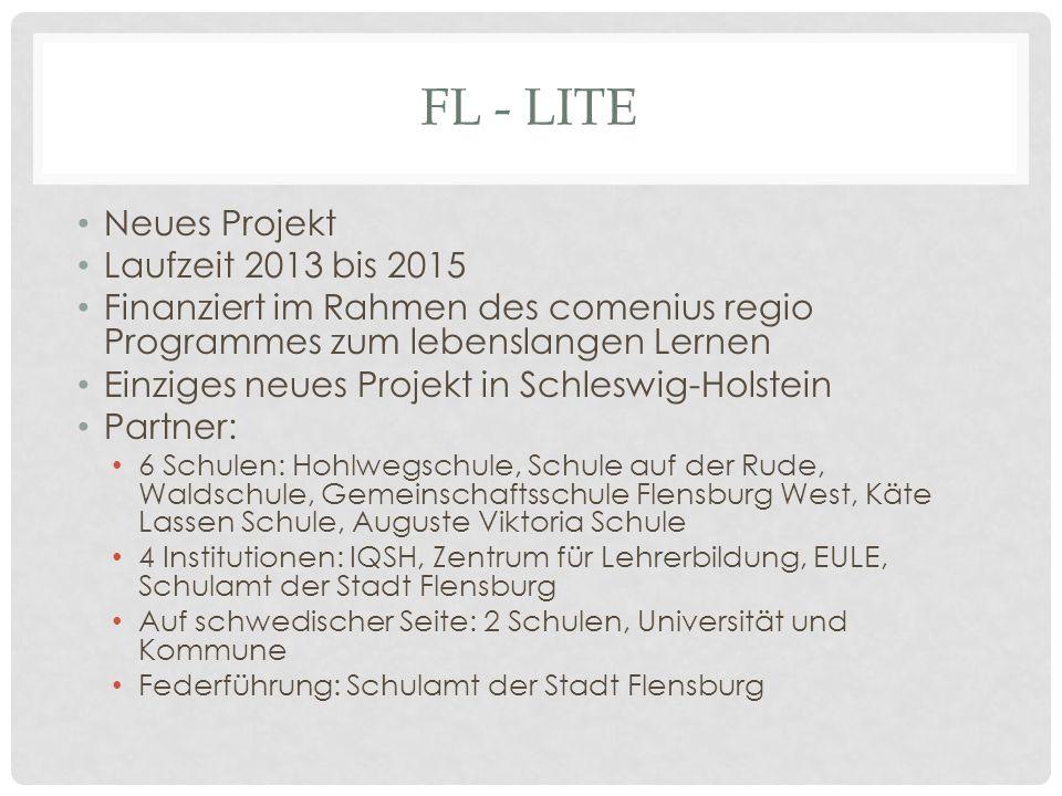 FL - LITE Neues Projekt Laufzeit 2013 bis 2015 Finanziert im Rahmen des comenius regio Programmes zum lebenslangen Lernen Einziges neues Projekt in Sc
