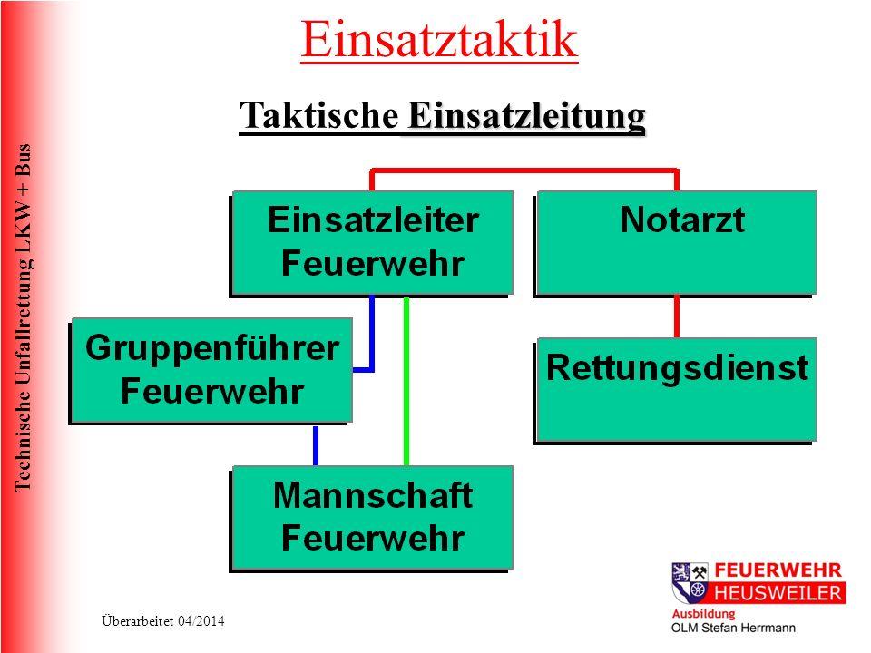 Technische Unfallrettung LKW + Bus Überarbeitet 04/2014 Einsatzleitung Taktische Einsatzleitung Einsatztaktik
