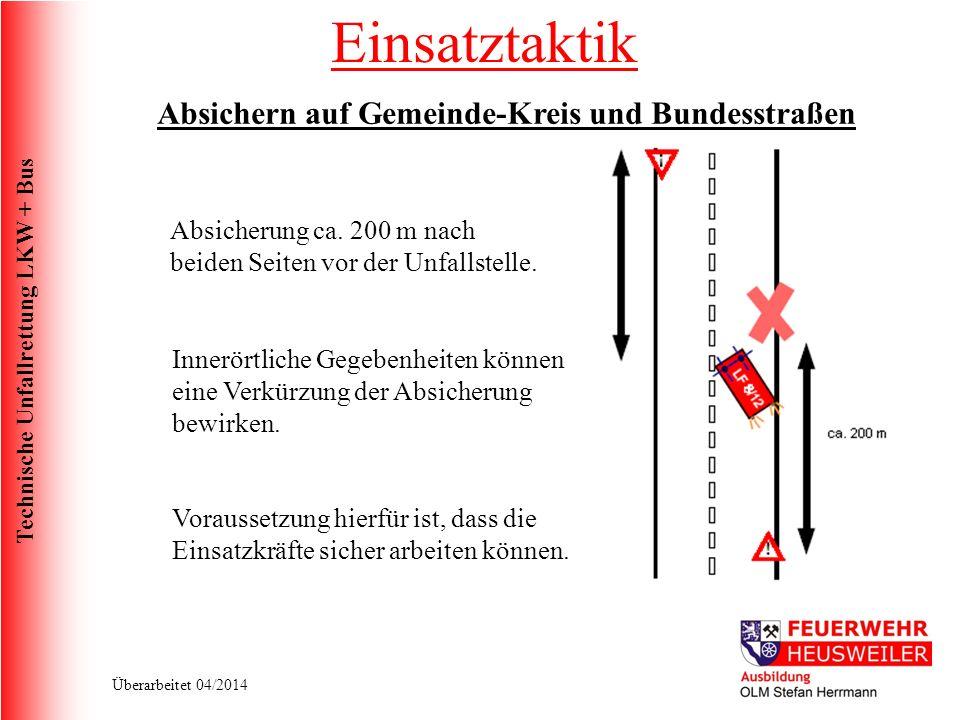 Technische Unfallrettung LKW + Bus Überarbeitet 04/2014 Absichern auf Gemeinde-Kreis und Bundesstraßen Absicherung ca.
