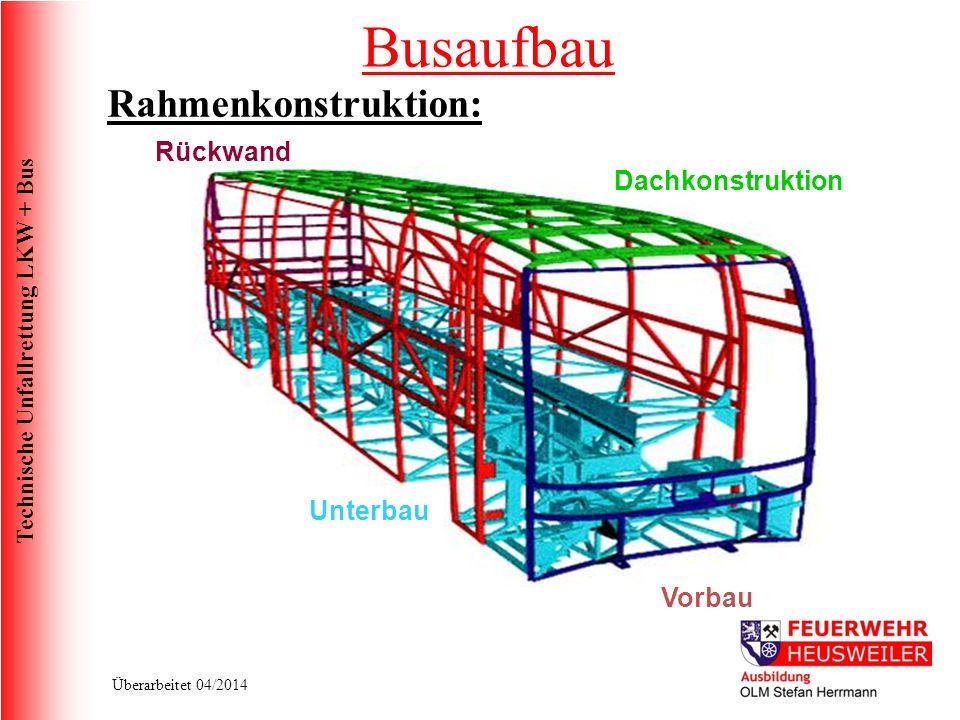 Technische Unfallrettung LKW + Bus Überarbeitet 04/2014 Dachkonstruktion Unterbau Vorbau Rückwand Rahmenkonstruktion: Busaufbau