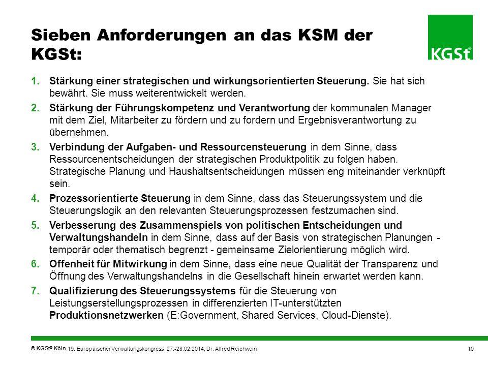 © KGSt ® Köln, Sieben Anforderungen an das KSM der KGSt: 1.Stärkung einer strategischen und wirkungsorientierten Steuerung. Sie hat sich bewährt. Sie