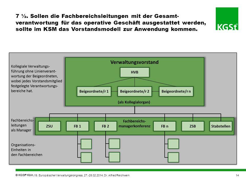 © KGSt ® Köln, 7 ½. Sollen die Fachbereichsleitungen mit der Gesamt- verantwortung für das operative Geschäft ausgestattet werden, sollte im KSM das V