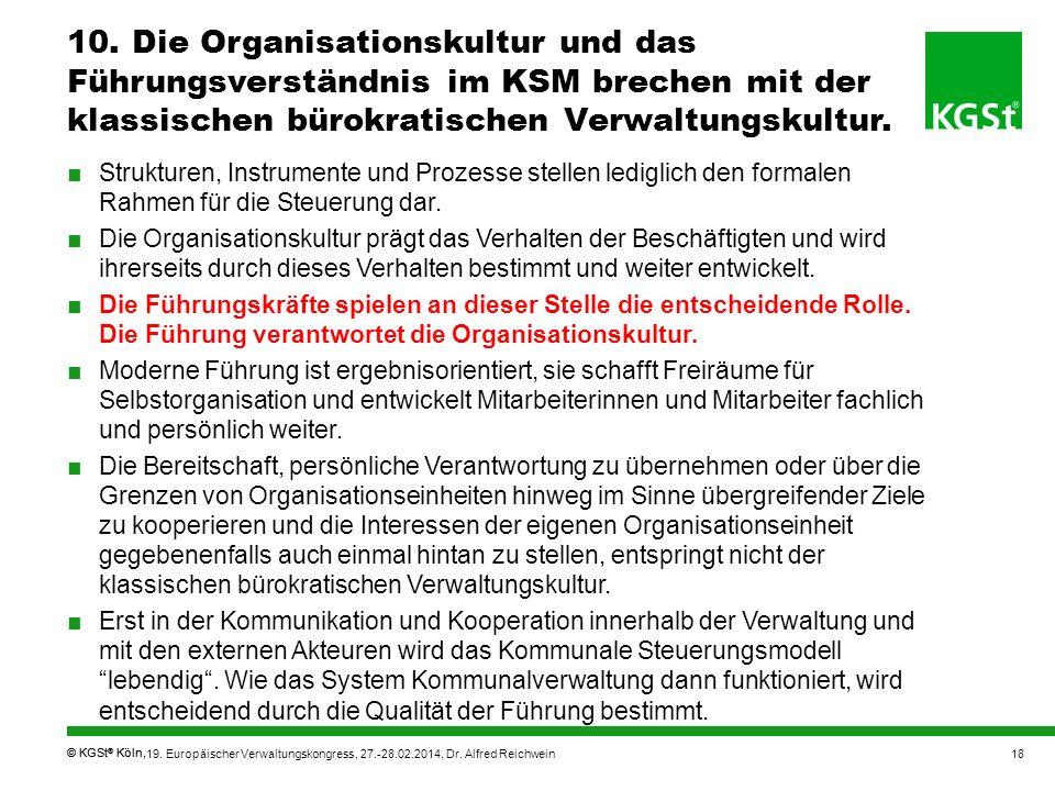 © KGSt ® Köln, Strukturen, Instrumente und Prozesse stellen lediglich den formalen Rahmen für die Steuerung dar. Die Organisationskultur prägt das Ver