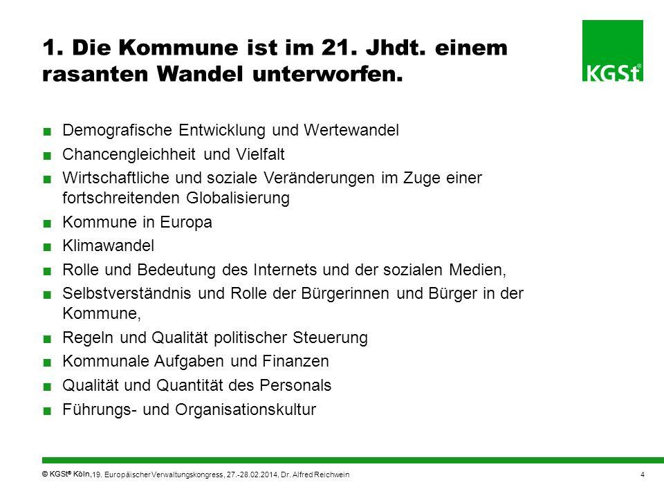 © KGSt ® Köln, 1. Die Kommune ist im 21. Jhdt. einem rasanten Wandel unterworfen. Demografische Entwicklung und Wertewandel Chancengleichheit und Viel