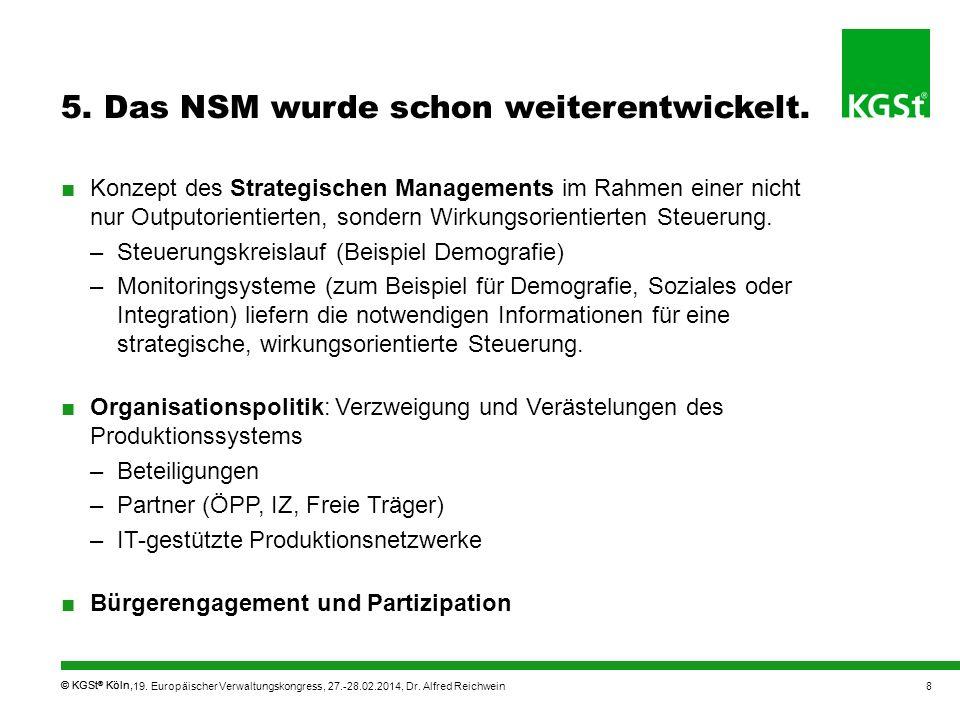 © KGSt ® Köln, 5. Das NSM wurde schon weiterentwickelt. Konzept des Strategischen Managements im Rahmen einer nicht nur Outputorientierten, sondern Wi