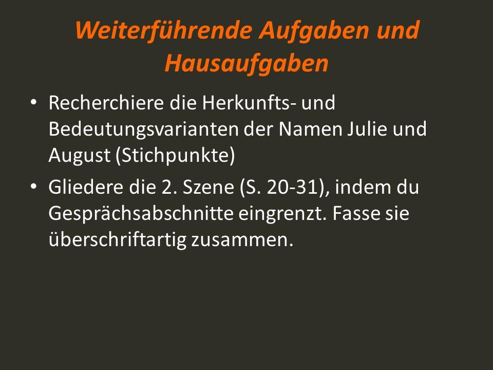 Weiterführende Aufgaben und Hausaufgaben Recherchiere die Herkunfts- und Bedeutungsvarianten der Namen Julie und August (Stichpunkte) Gliedere die 2.