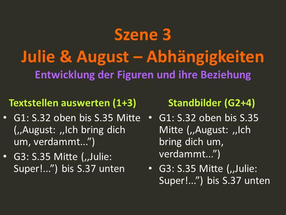 Szene 3 Julie & August – Abhängigkeiten Entwicklung der Figuren und ihre Beziehung Textstellen auswerten (1+3) G1: S.32 oben bis S.35 Mitte (,,August: