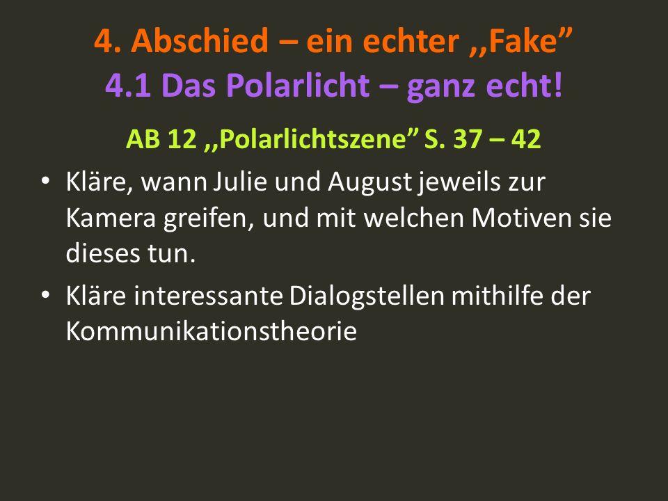 AB 12,,Polarlichtszene S. 37 – 42 Kläre, wann Julie und August jeweils zur Kamera greifen, und mit welchen Motiven sie dieses tun. Kläre interessante