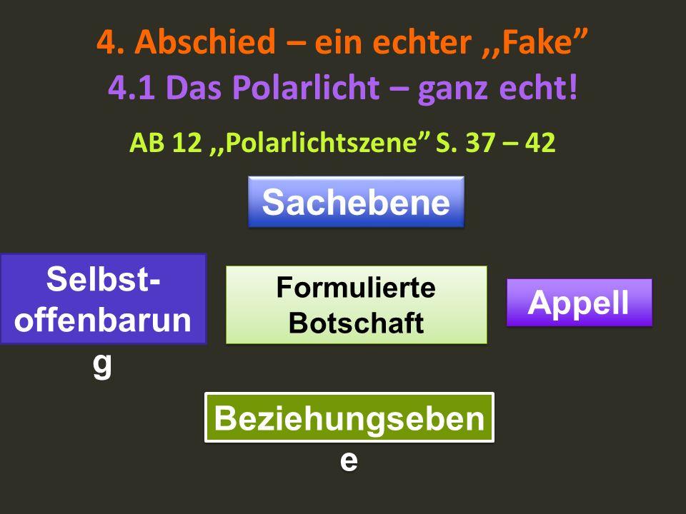 4. Abschied – ein echter,,Fake 4.1 Das Polarlicht – ganz echt! AB 12,,Polarlichtszene S. 37 – 42 Formulierte Botschaft Sachebene Appell Beziehungseben