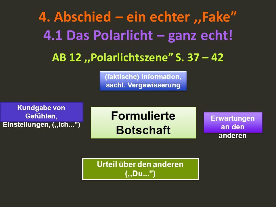 4. Abschied – ein echter,,Fake 4.1 Das Polarlicht – ganz echt! AB 12,,Polarlichtszene S. 37 – 42 Formulierte Botschaft (faktische) Information, sachl.