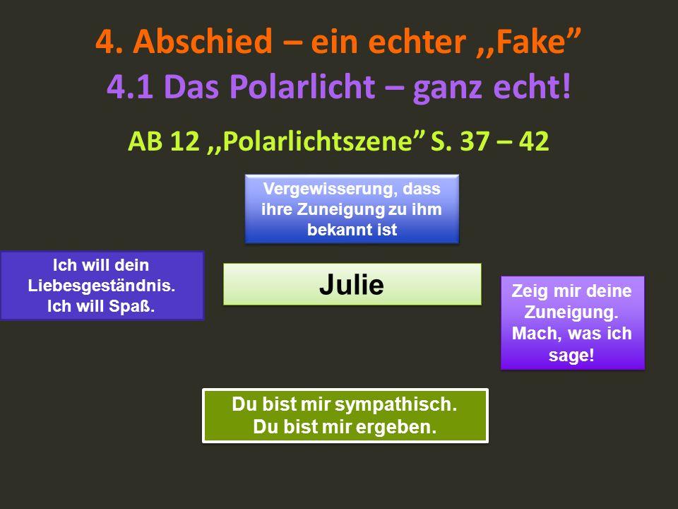 4. Abschied – ein echter,,Fake 4.1 Das Polarlicht – ganz echt! AB 12,,Polarlichtszene S. 37 – 42 Julie Vergewisserung, dass ihre Zuneigung zu ihm beka