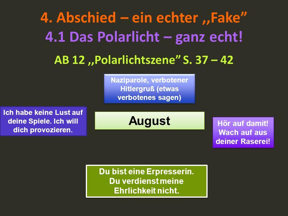 4. Abschied – ein echter,,Fake 4.1 Das Polarlicht – ganz echt! AB 12,,Polarlichtszene S. 37 – 42 August Naziparole, verbotener Hitlergruß (etwas verbo