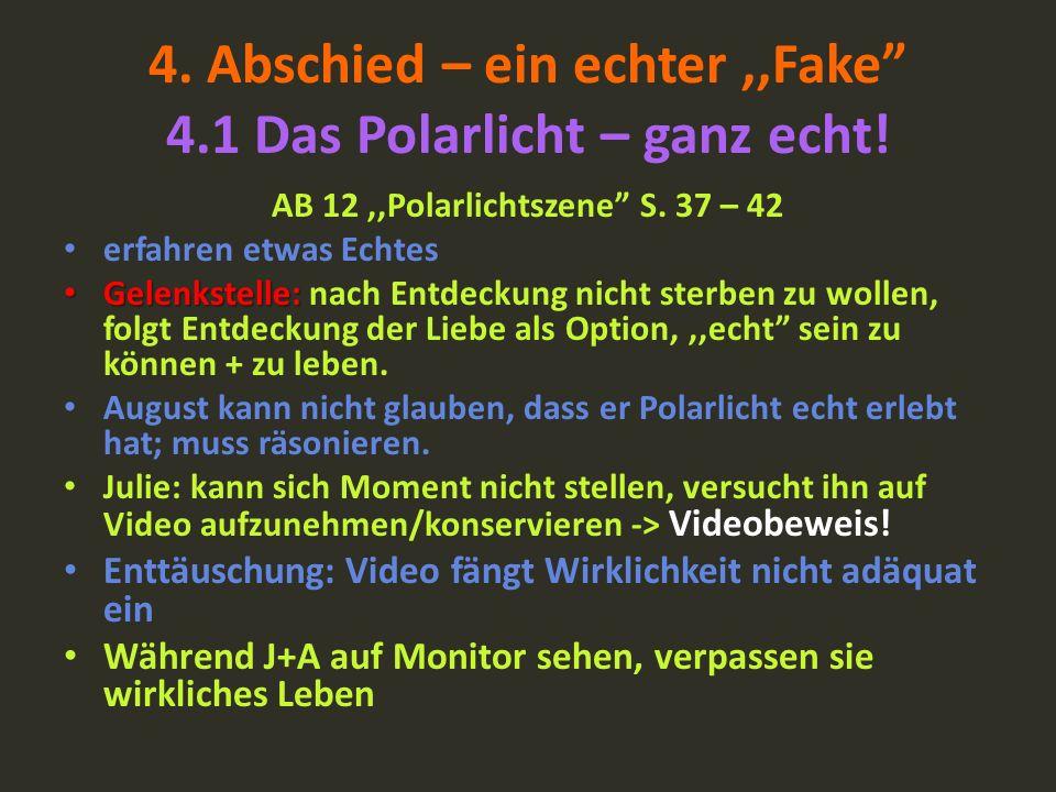 4. Abschied – ein echter,,Fake 4.1 Das Polarlicht – ganz echt! AB 12,,Polarlichtszene S. 37 – 42 erfahren etwas Echtes Gelenkstelle: Gelenkstelle: nac