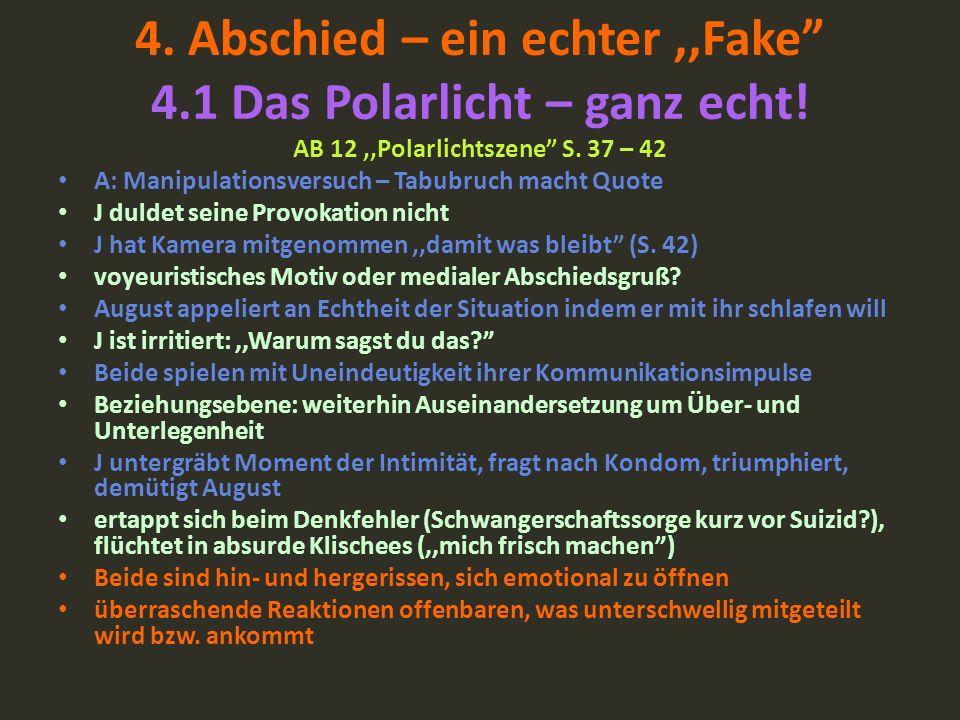 4. Abschied – ein echter,,Fake 4.1 Das Polarlicht – ganz echt! AB 12,,Polarlichtszene S. 37 – 42 A: Manipulationsversuch – Tabubruch macht Quote J dul