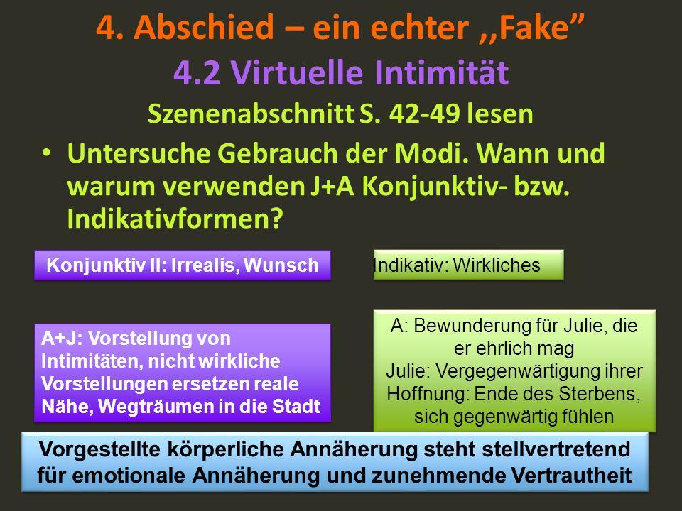 4. Abschied – ein echter,,Fake 4.2 Virtuelle Intimität Szenenabschnitt S. 42-49 lesen Untersuche Gebrauch der Modi. Wann und warum verwenden J+A Konju