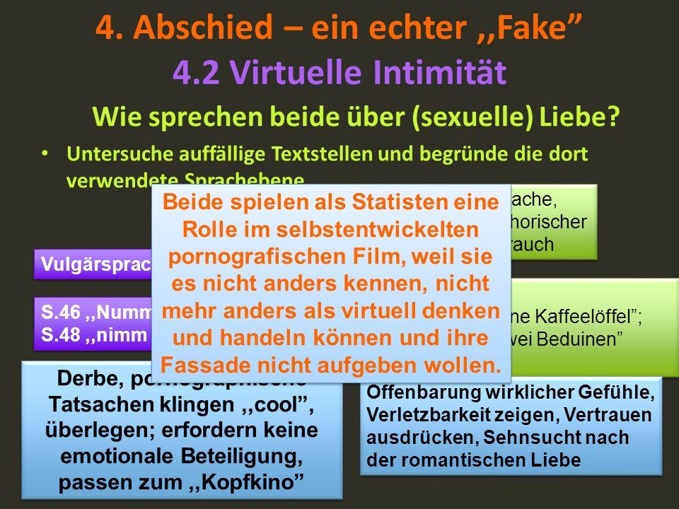 4. Abschied – ein echter,,Fake 4.2 Virtuelle Intimität Wie sprechen beide über (sexuelle) Liebe? Untersuche auffällige Textstellen und begründe die do