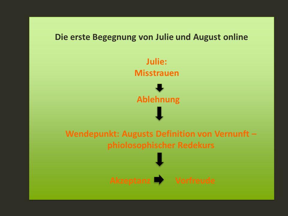 Die erste Begegnung von Julie und August online Julie: Misstrauen Ablehnung Wendepunkt: Augusts Definition von Vernunft – phiolosophischer Redekurs Ak
