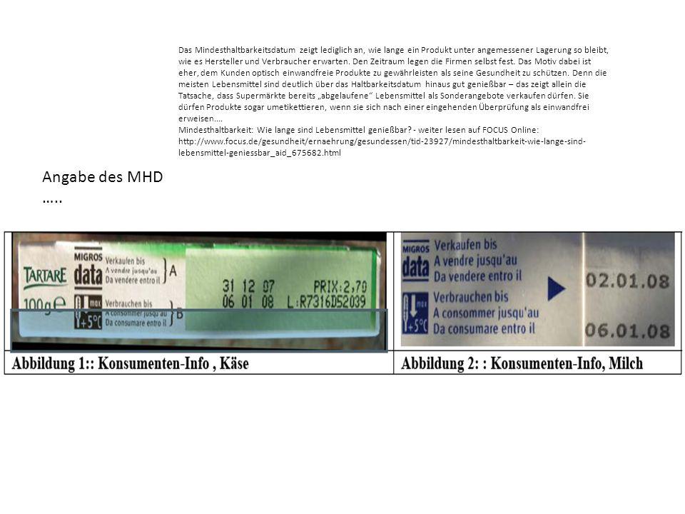 Angabe des MHD ….. Das Mindesthaltbarkeitsdatum zeigt lediglich an, wie lange ein Produkt unter angemessener Lagerung so bleibt, wie es Hersteller und