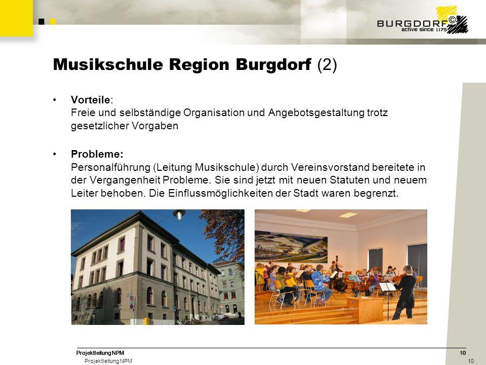 10Projektleitung NPM10Projektleitung NPM10Projektleitung NPM10 Musikschule Region Burgdorf (2) Vorteile: Freie und selbständige Organisation und Angeb