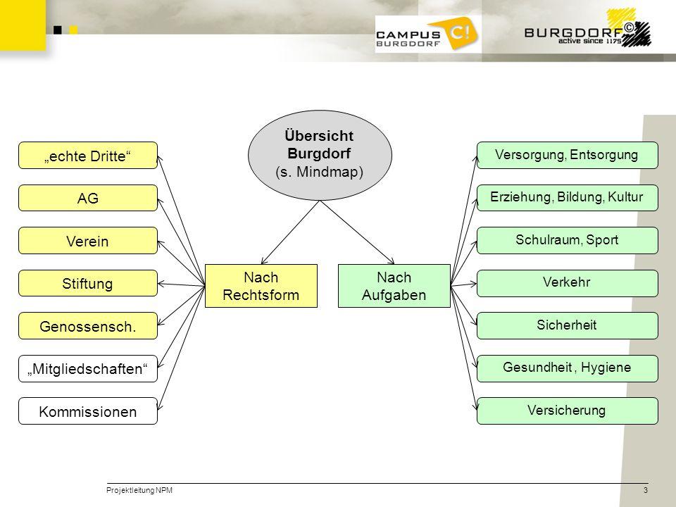 Projektleitung NPM3 Übersicht Burgdorf (s. Mindmap) Nach Rechtsform Nach Aufgaben echte DritteAG Verein Stiftung Genossensch. Mitgliedschaften Kommiss