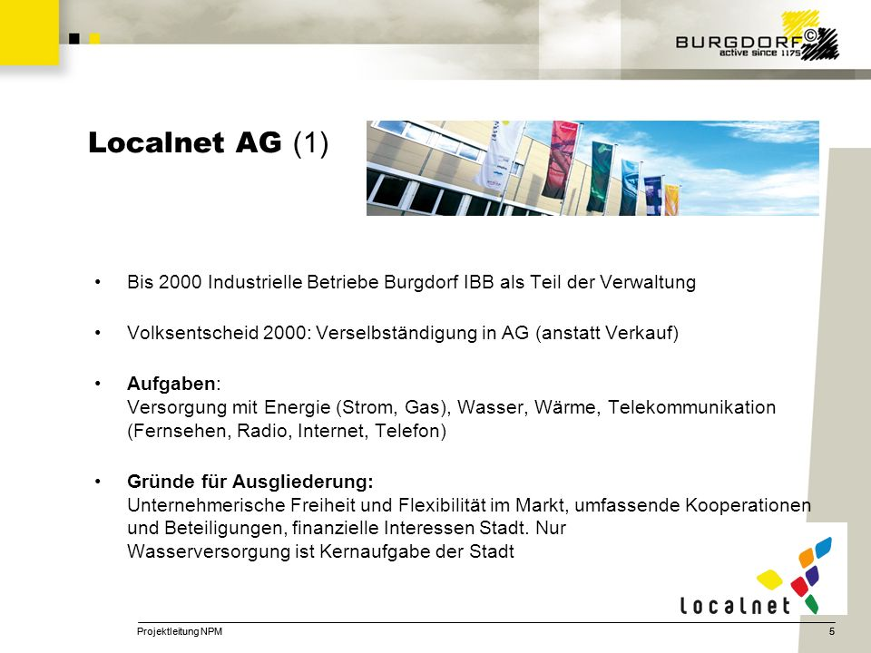 5 Localnet AG (1) Bis 2000 Industrielle Betriebe Burgdorf IBB als Teil der Verwaltung Volksentscheid 2000: Verselbständigung in AG (anstatt Verkauf) A