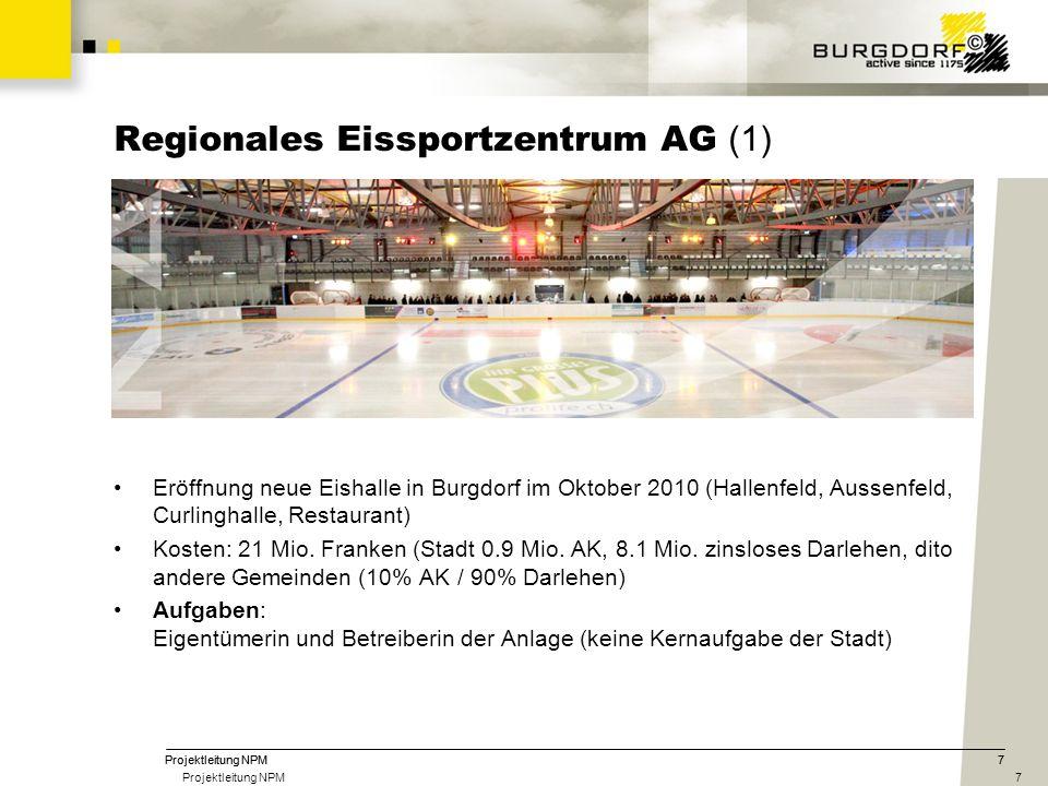 7 Regionales Eissportzentrum AG (1) Eröffnung neue Eishalle in Burgdorf im Oktober 2010 (Hallenfeld, Aussenfeld, Curlinghalle, Restaurant) Kosten: 21 Mio.