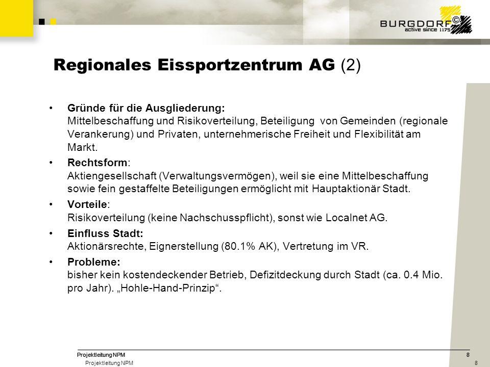 8 8 Regionales Eissportzentrum AG (2) Gründe für die Ausgliederung: Mittelbeschaffung und Risikoverteilung, Beteiligung von Gemeinden (regionale Verankerung) und Privaten, unternehmerische Freiheit und Flexibilität am Markt.