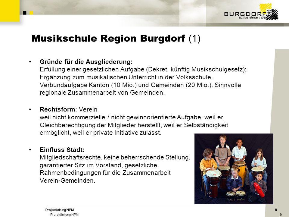 9 9 9 Musikschule Region Burgdorf (1) Gründe für die Ausgliederung: Erfüllung einer gesetzlichen Aufgabe (Dekret, künftig Musikschulgesetz): Ergänzung zum musikalischen Unterricht in der Volksschule.